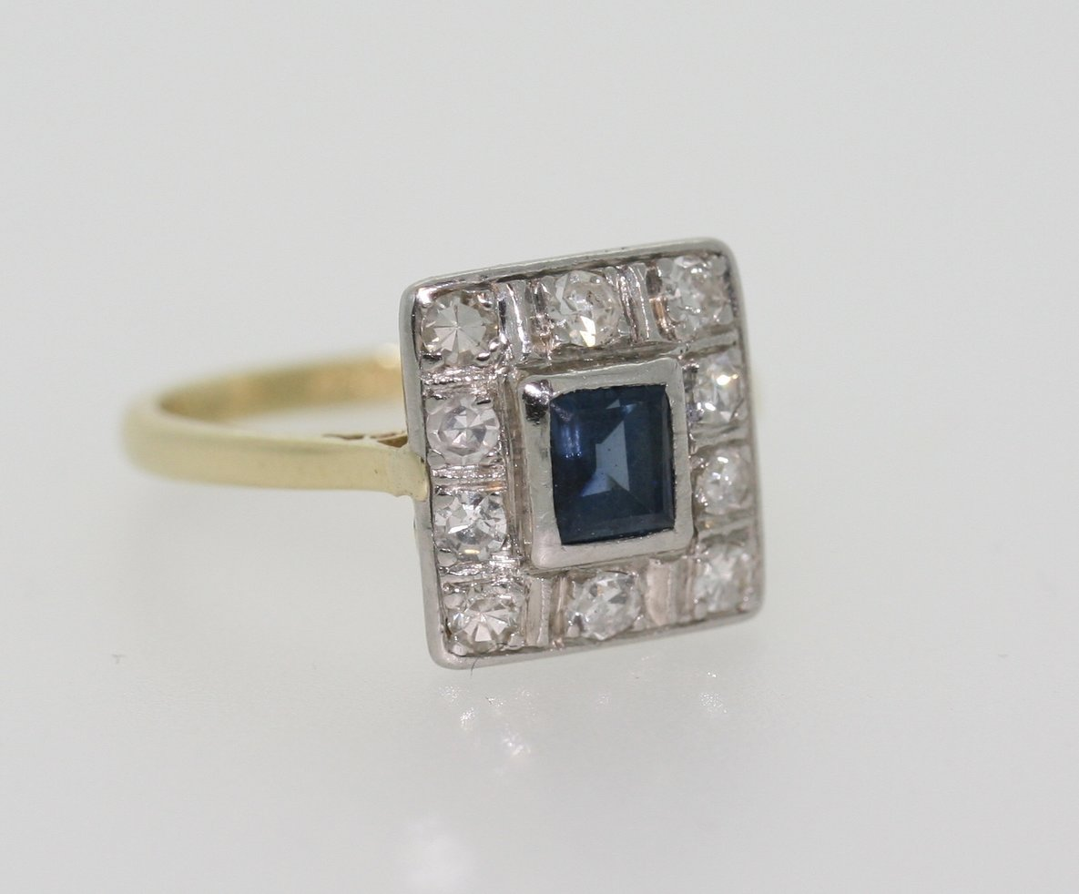 Sapphire And Diamond Panel Ring, Circa 1940's