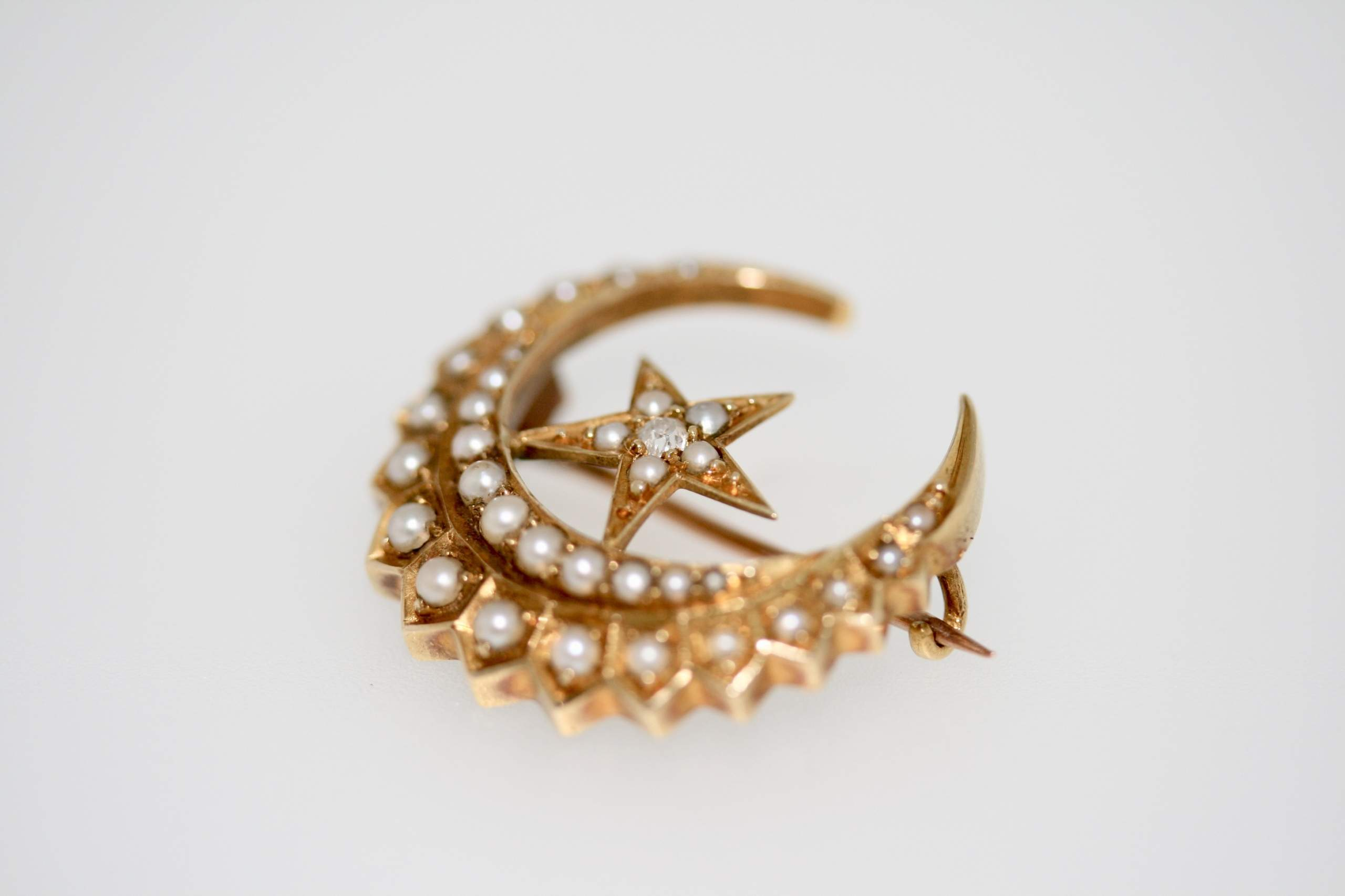 Victorian Diamond And Pearl Crescent Moon Brooch