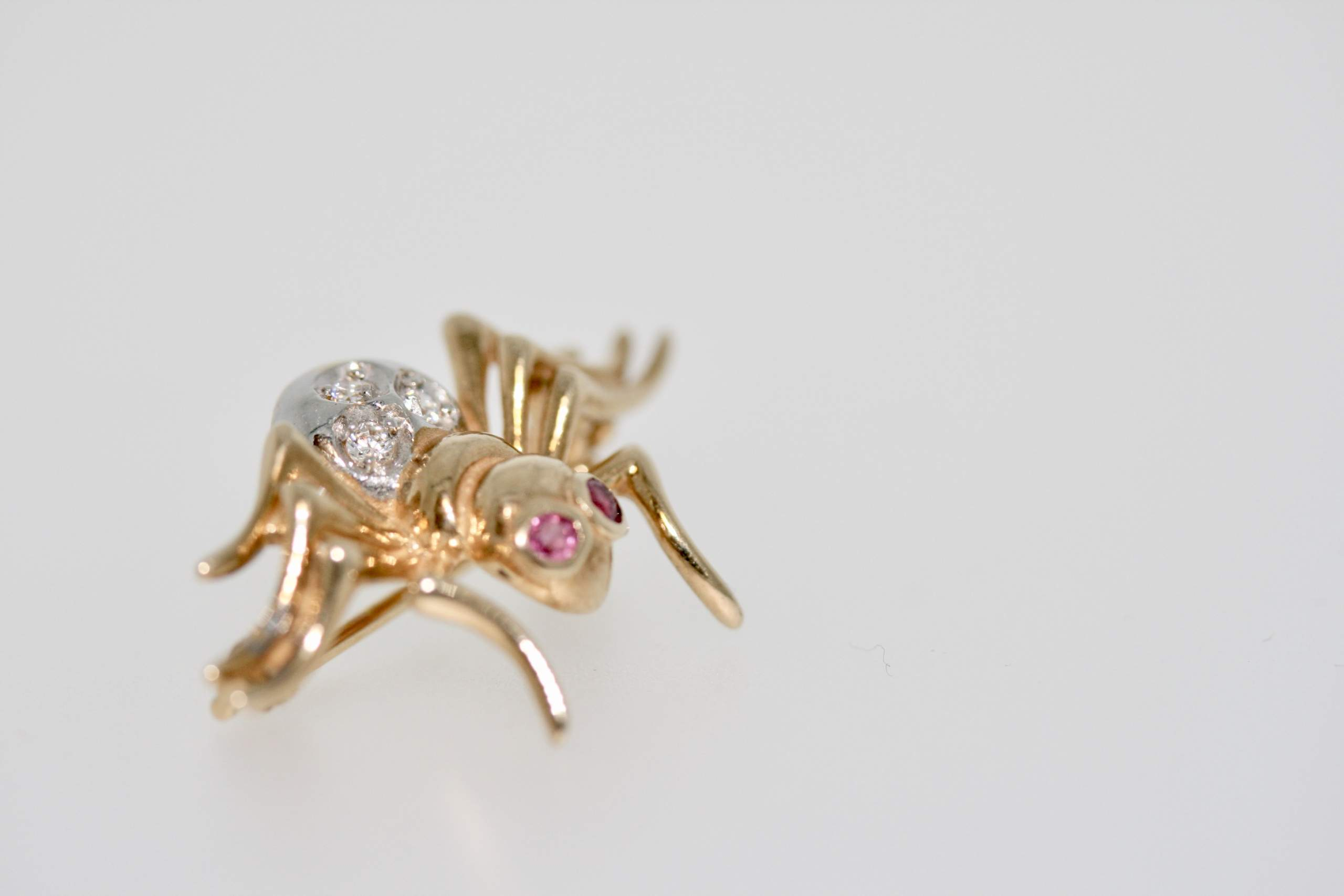 Modern Secondhand Diamond And Ruby Spider Brooch