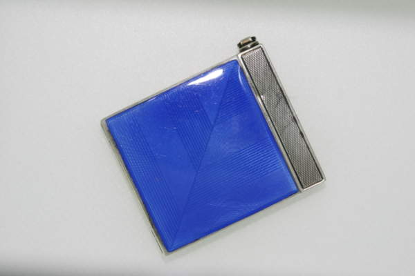 Art Deco Silver And Blue Enamel Compact - Circa 1930-1940