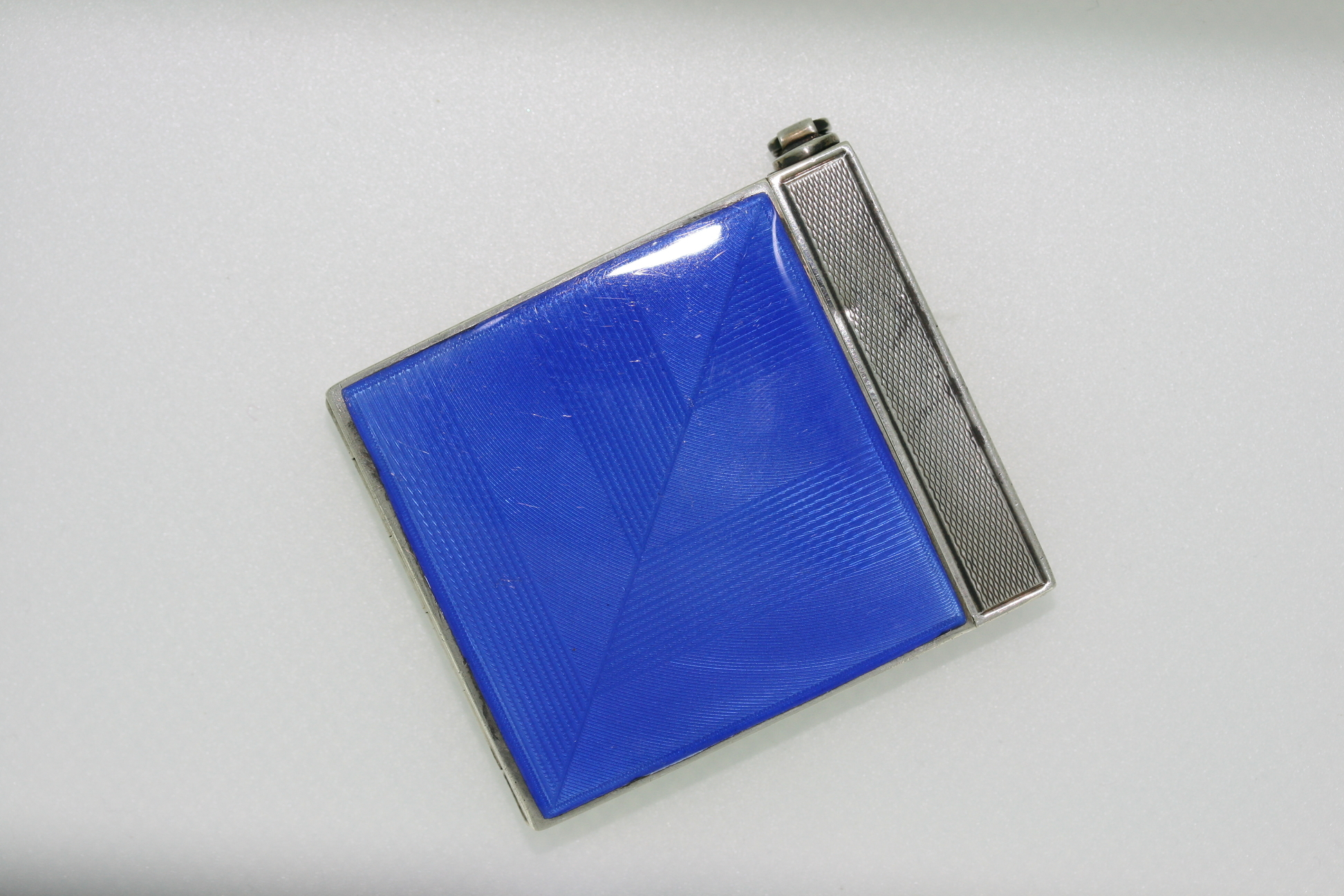 Art Deco Silver And Blue Enamel Compact – Circa 1930-1940