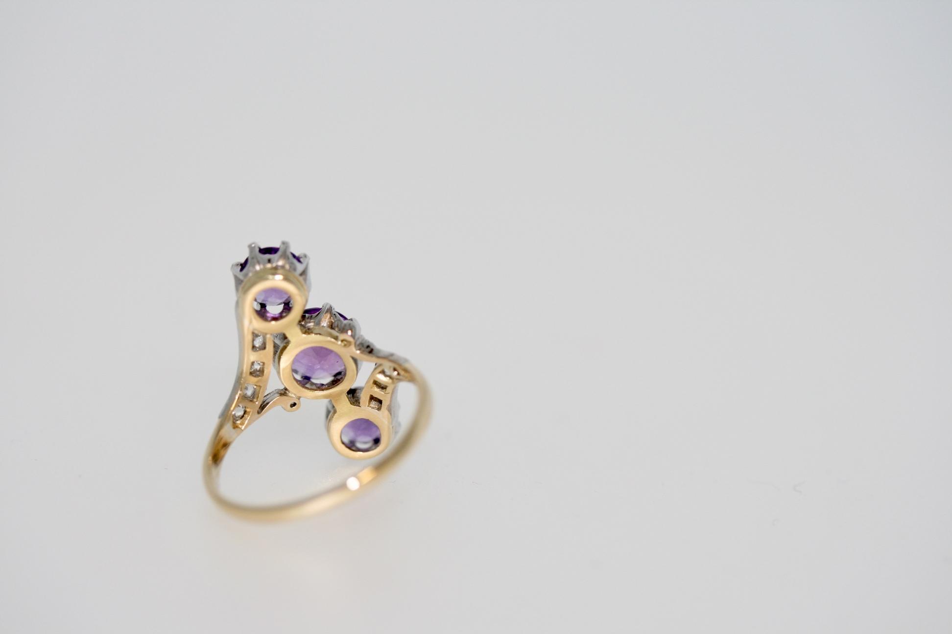 Edwardian Amethyst And Diamond Line Ring