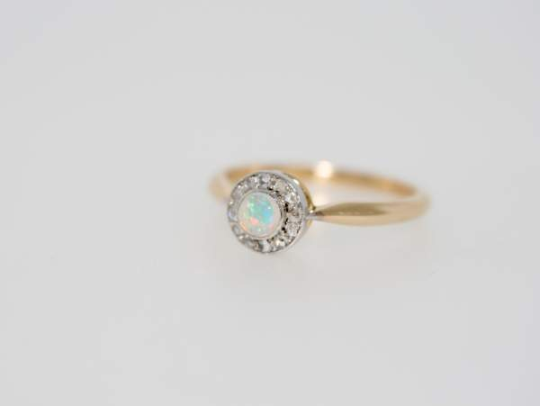 Opal And Diamond 18ct Gold Cluster Ring, Early 20th Century