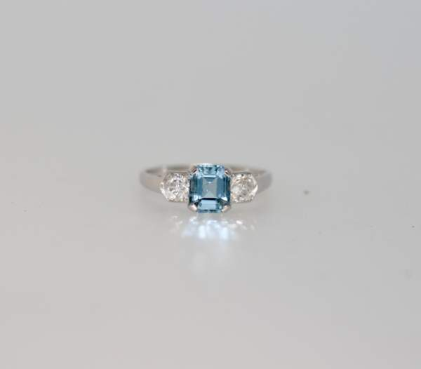 An Art Deco Style Aquamarine And Diamond Ring In 18ct White Gold
