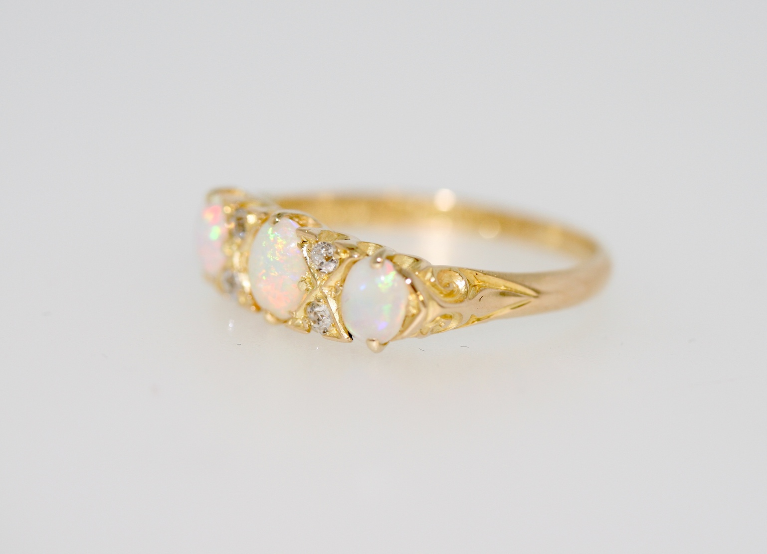 Victorian Style Opal And Diamond Secondhand Ring