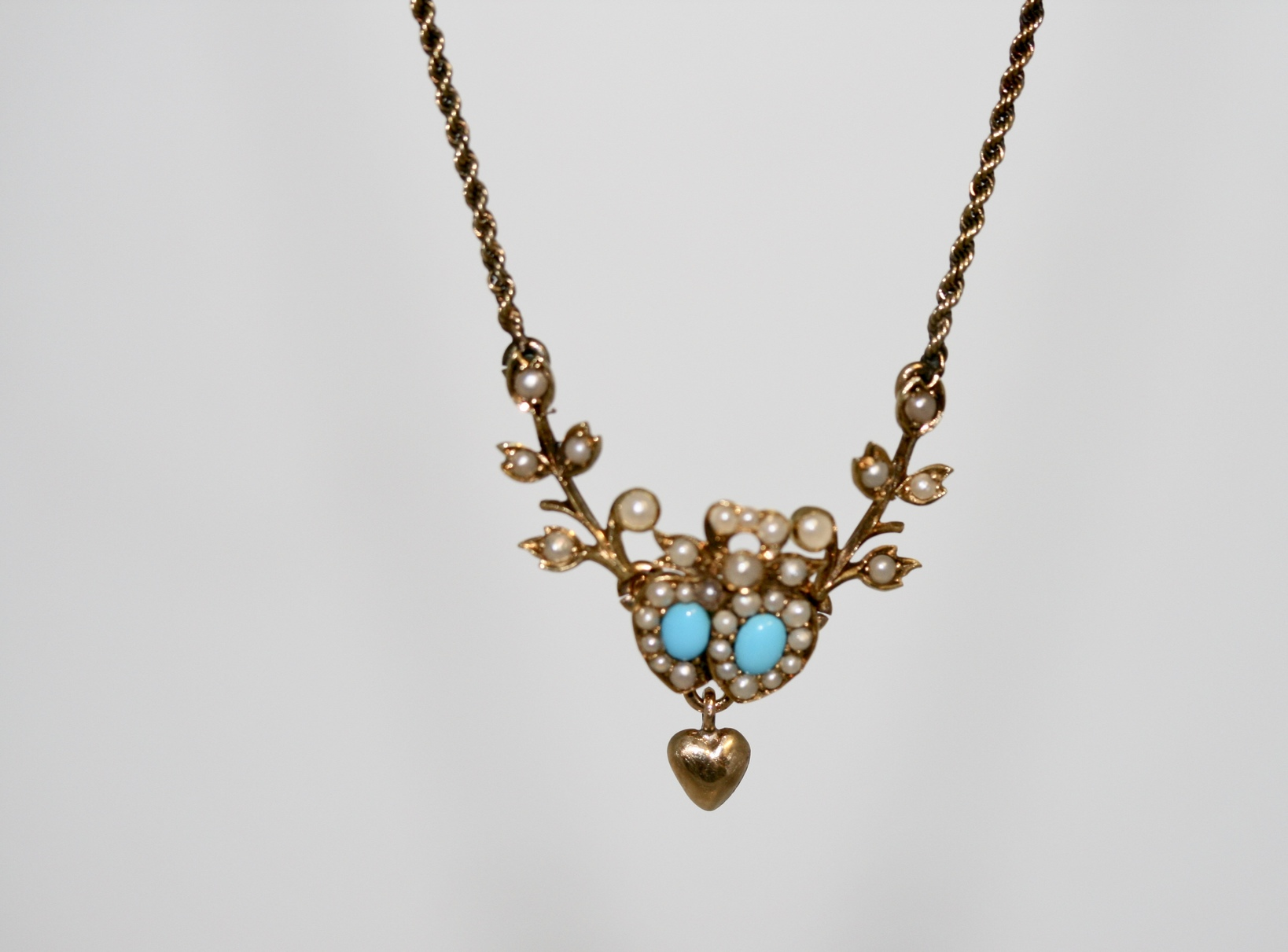 Victorian Turquoise And Pearl Necklace, Circa. 1895