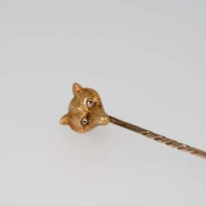 Victorian Fox Mask Stock Pin With Diamond Eyes