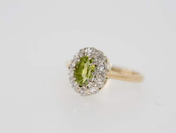 A Peridot And Diamond Cluster Ring, Pre-owned