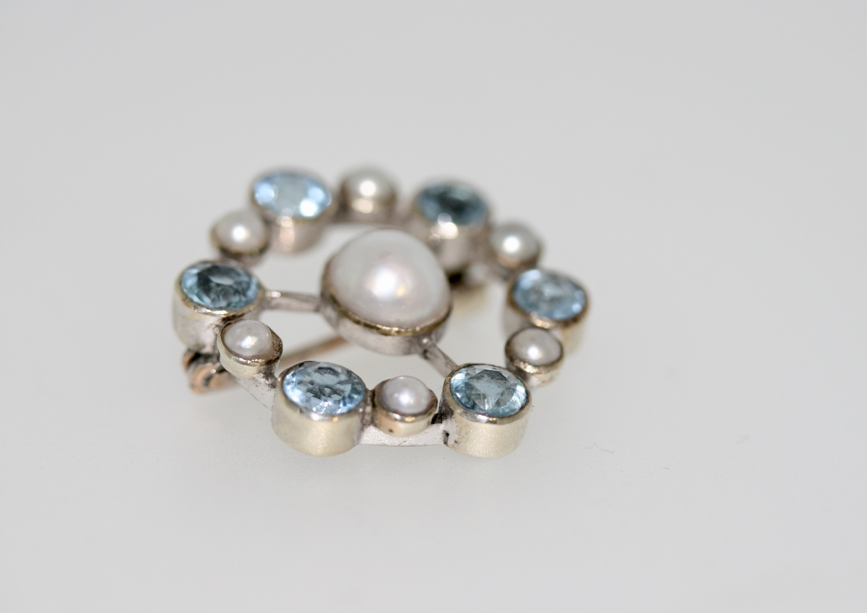 An Aquamarine And Mabé Pearl Brooch, Early-mid 20th Century