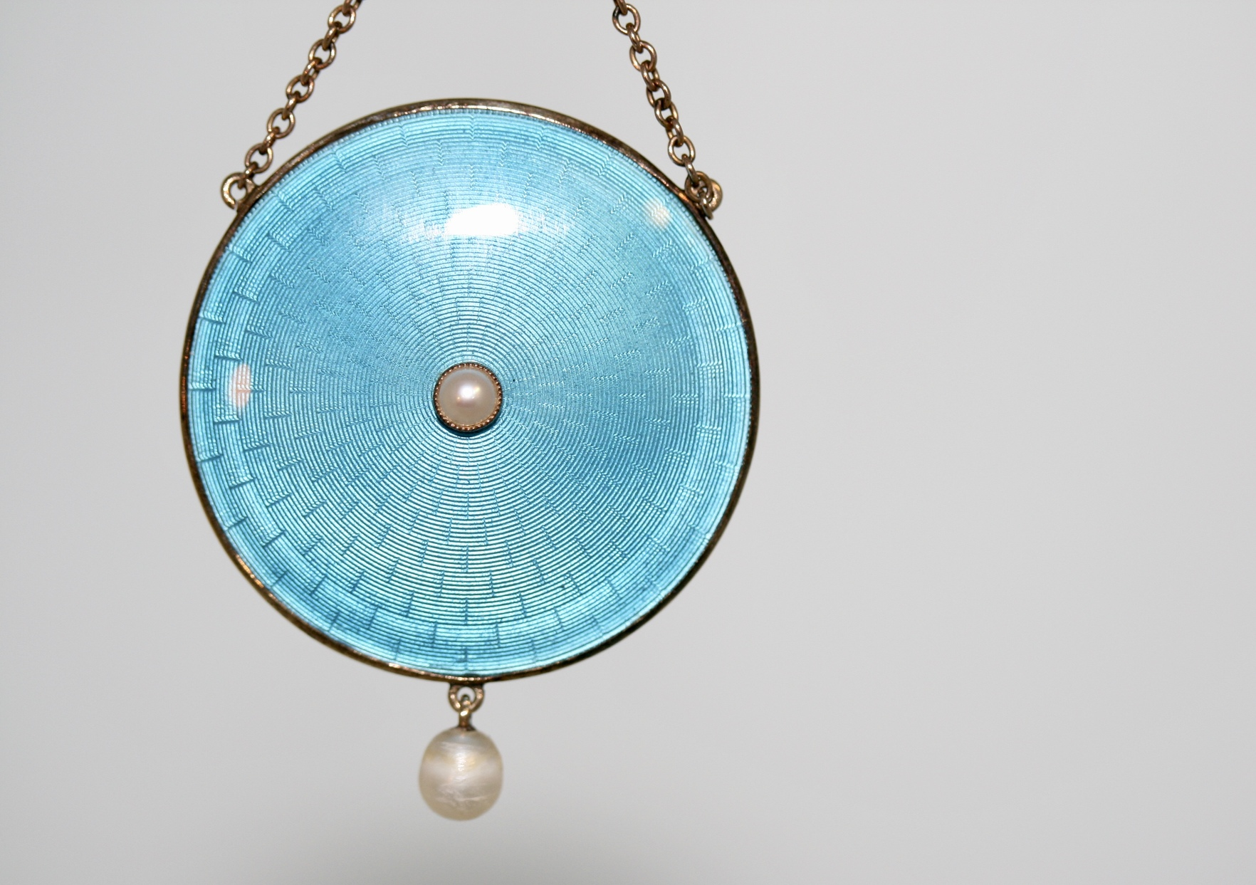 An Edwardian Gold, Pearl And Guilloche Enamel Necklace