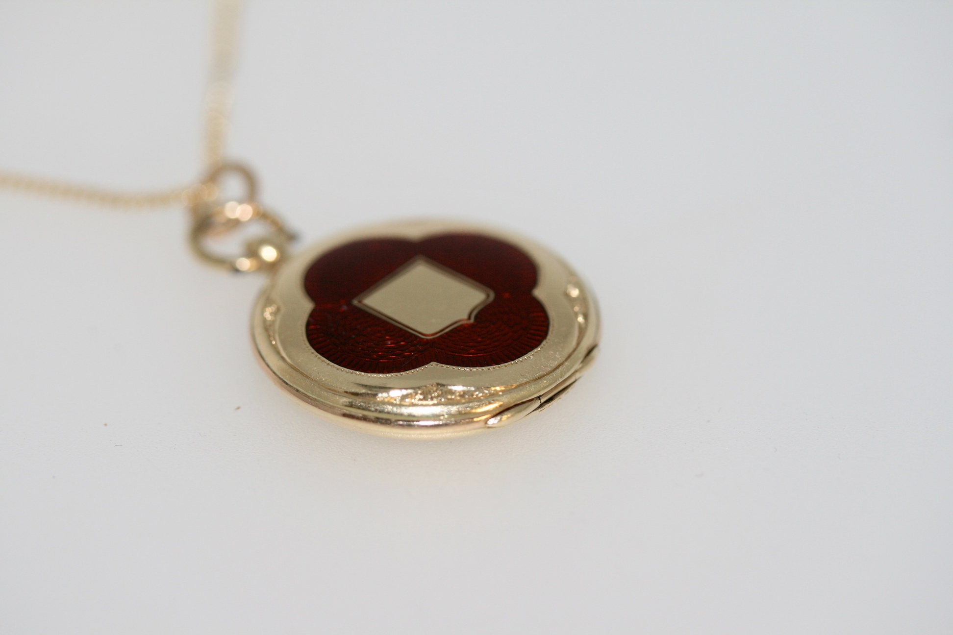 Edwardian Gold And Red Guilloche Enamel Locket