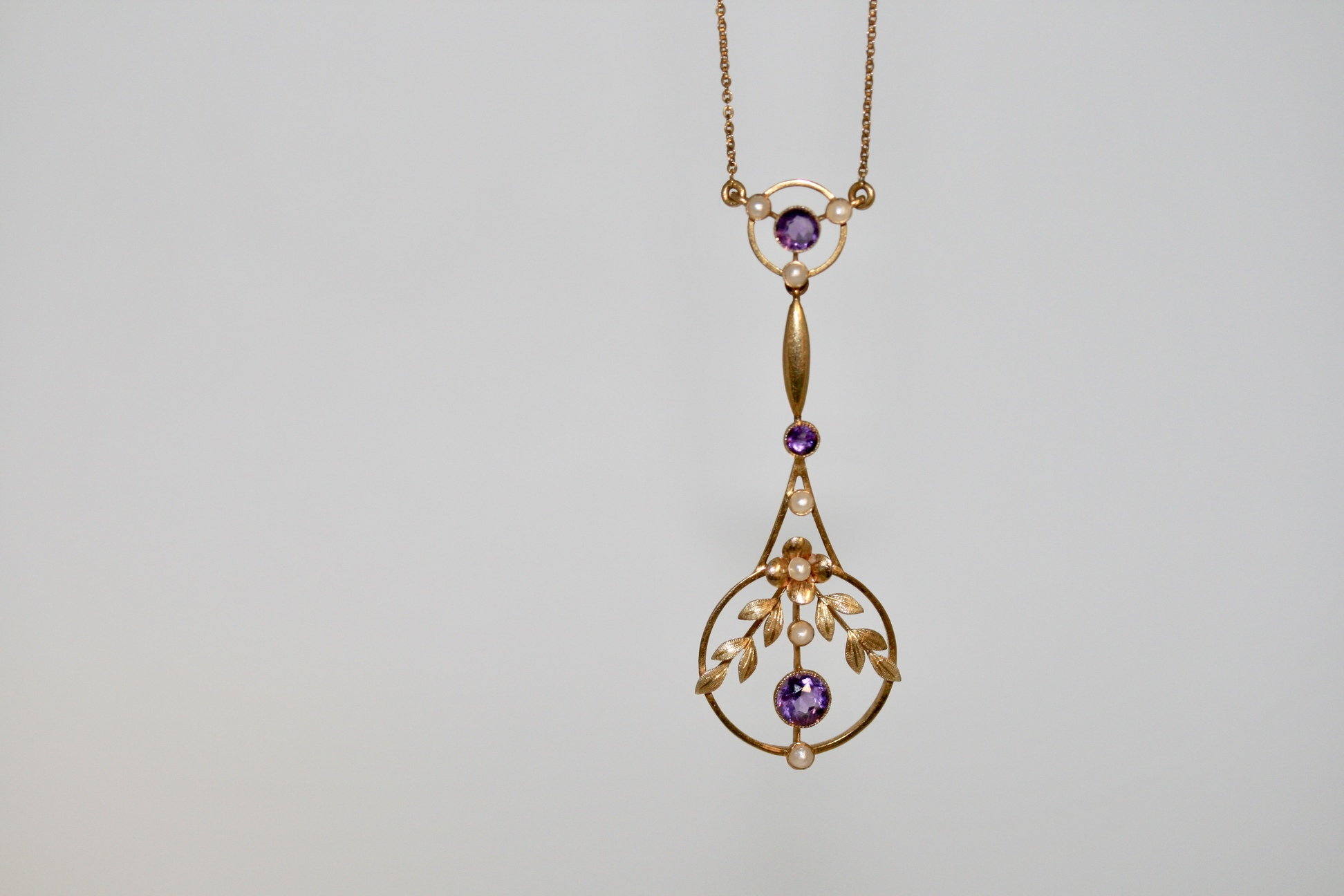 Belle Epoque Amethyst And Pearl Lavalier Necklace, Circa 1900