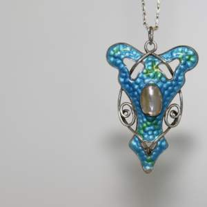 Art Nouveau Silver And Blue Enamelled Pendant, Circa 1905