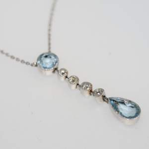 An Art Deco Aquamarine And Diamond Necklace, Circa 1930's