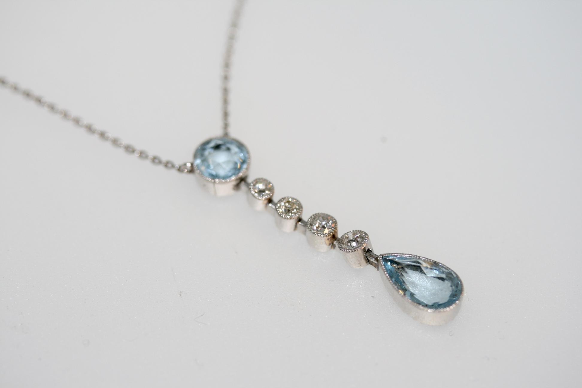 An Art Deco Aquamarine And Diamond Necklace, Circa 1930's