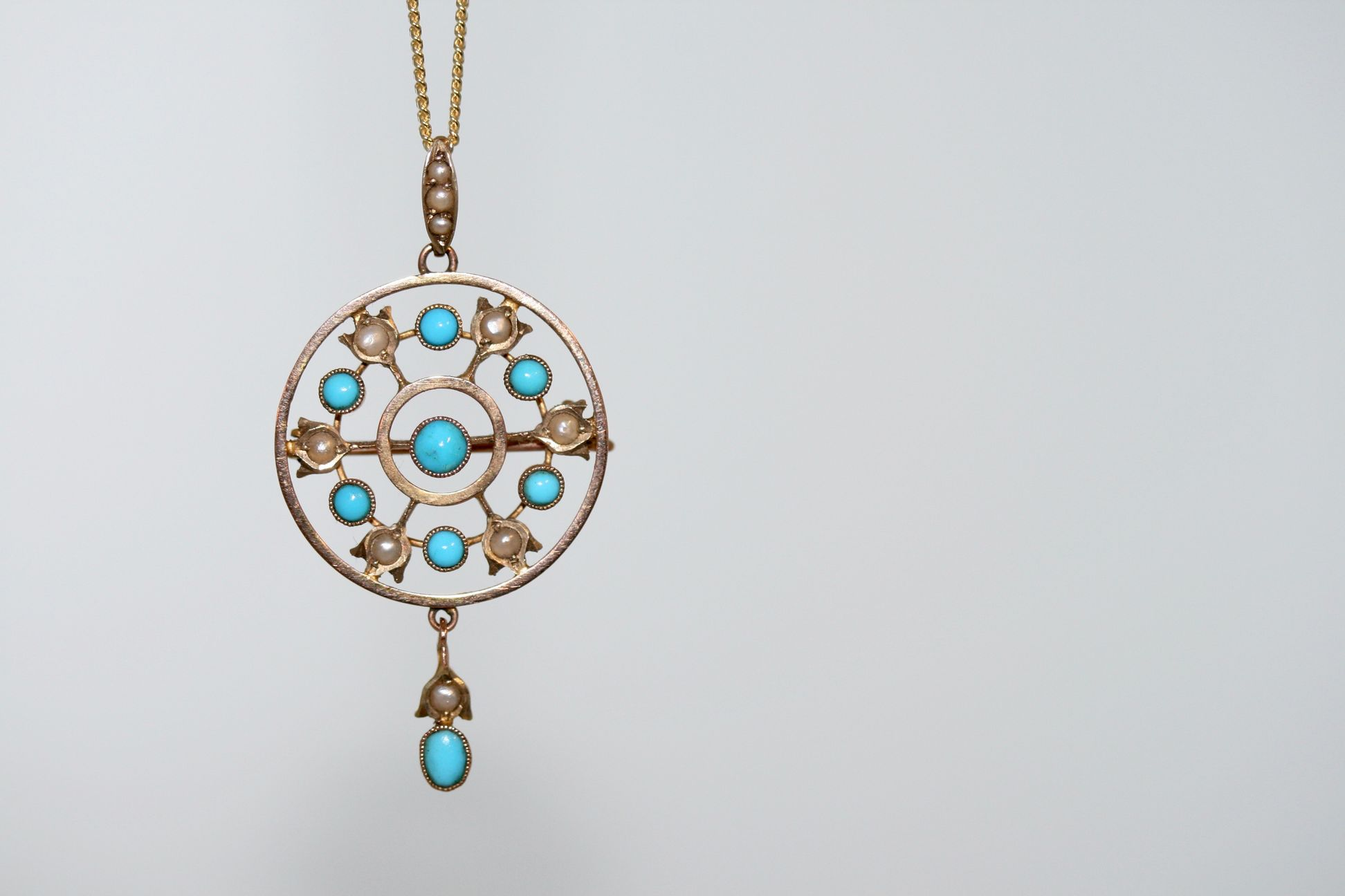 Edwardian 9ct Gold Turquoise And Pearl Pendant