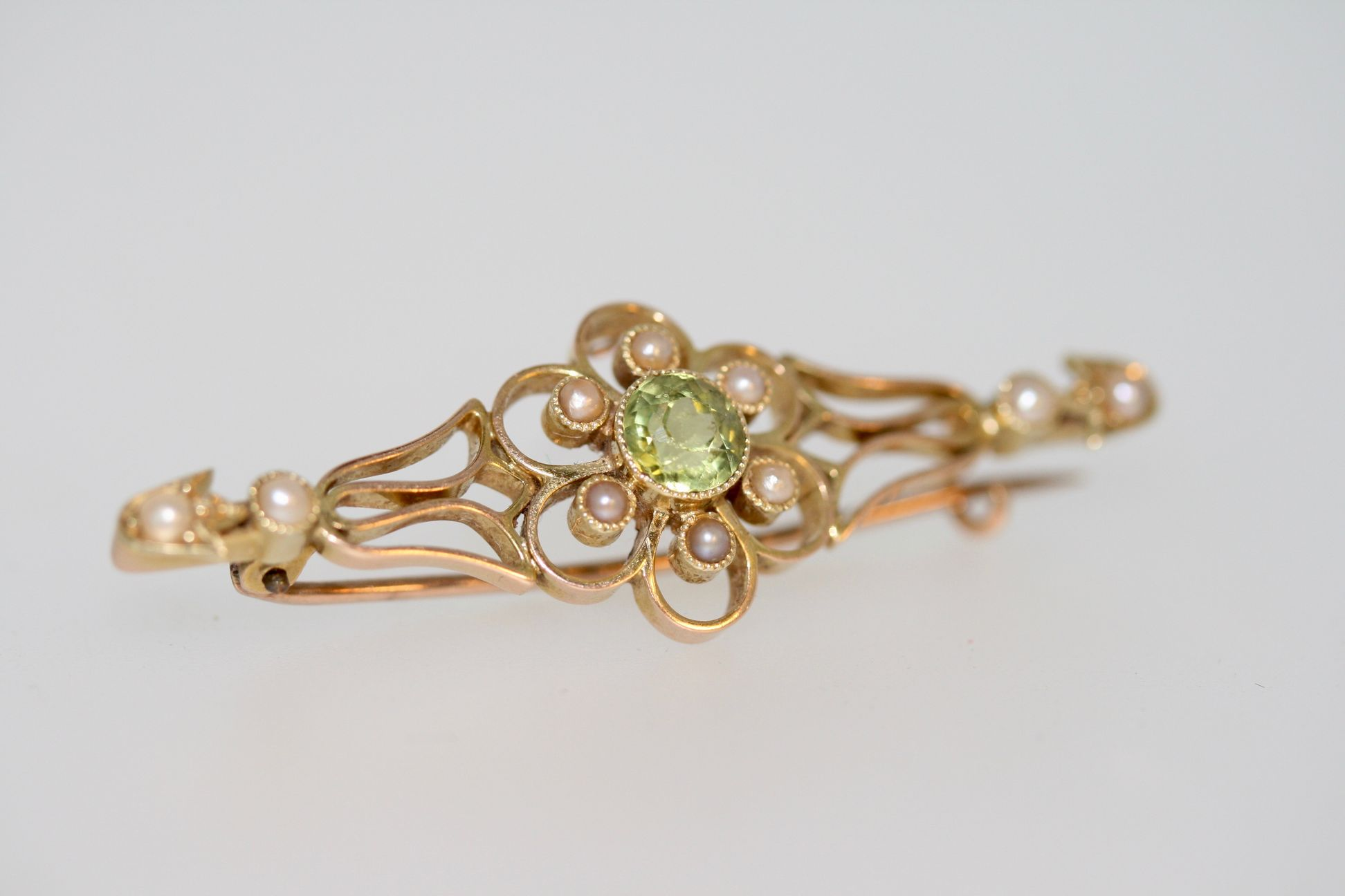 Edwardian Peridot And Pearl Flower Brooch