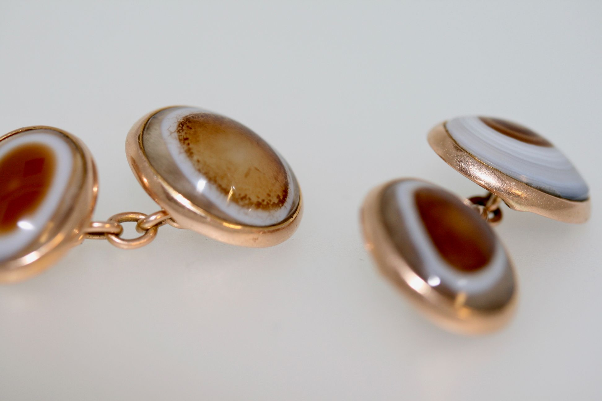 A Pair Of Victorian Banded Agate Cufflinks