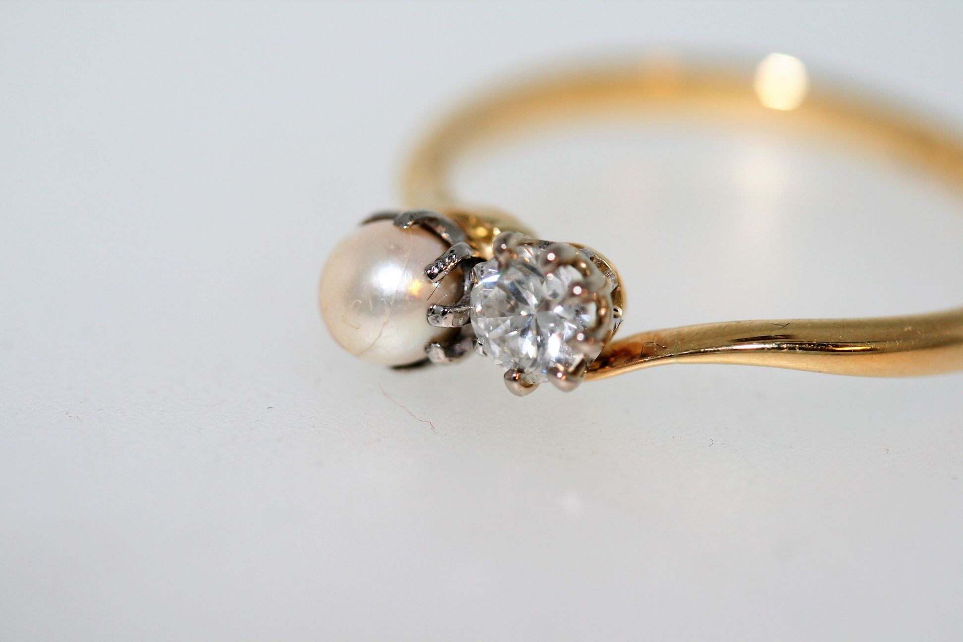 1920's Pearl And Diamond 'moi Et Toi' Twist Ring