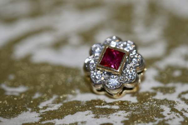 Square Cut Ruby And Diamond Flowerhead Pendant