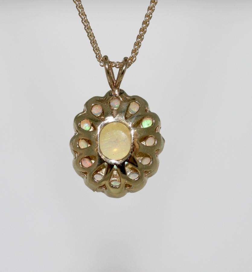 An Opal Cluster Pendant, Circa 1970's