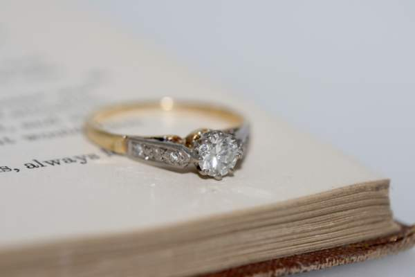 Diamond Solitaire Ring With Diamond Set Shoulders, Mid-20th Century