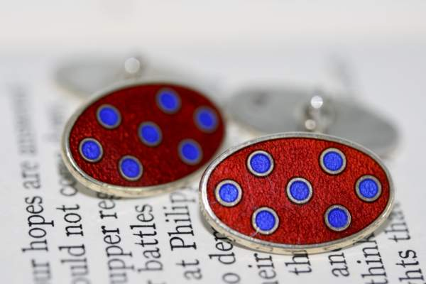 Vintage Silver Gilt And Enamel Oval Cufflinks