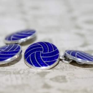 Silver And Blue Enamel Round Cufflinks