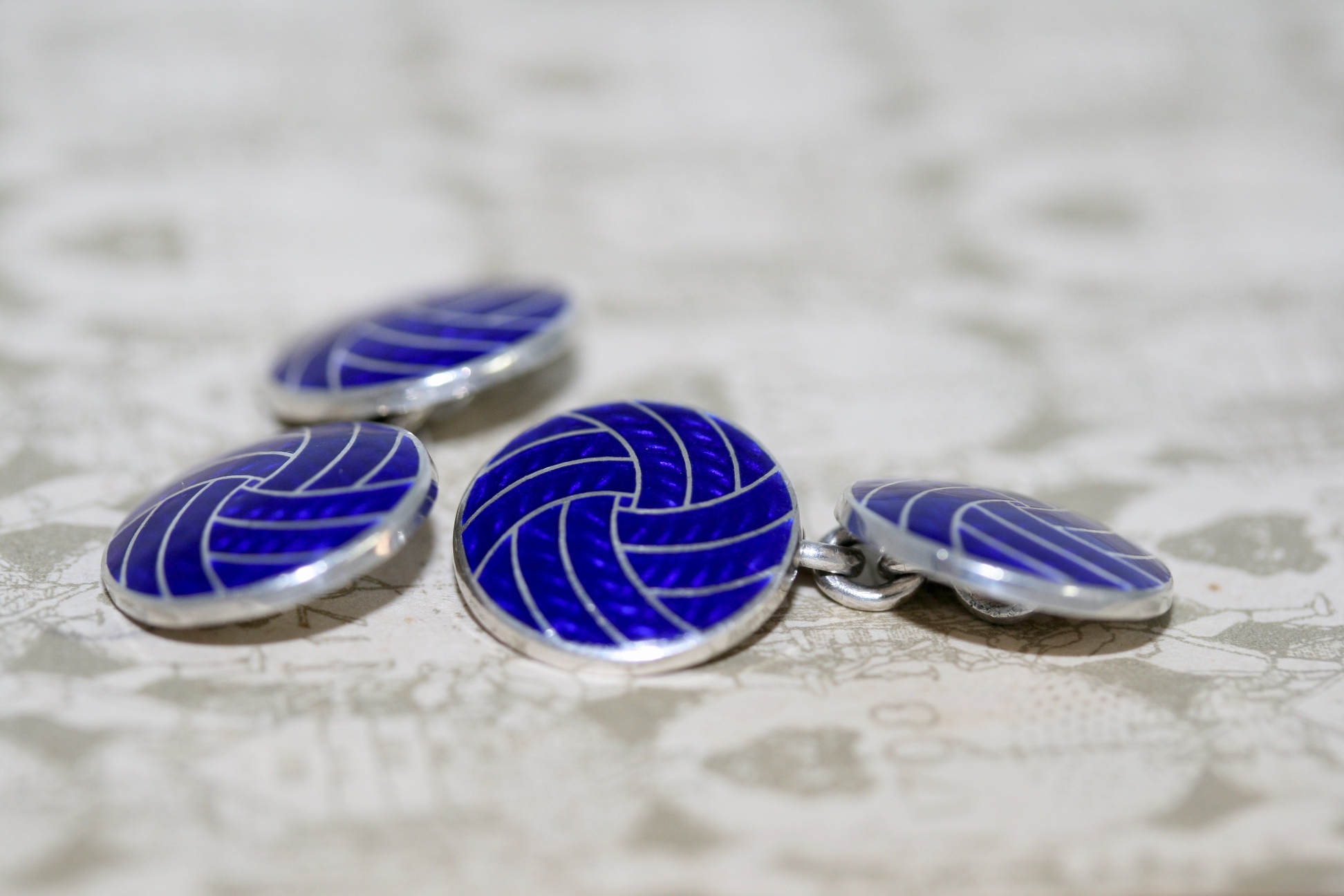 Silver And Blue Enamel Round Cufflinks