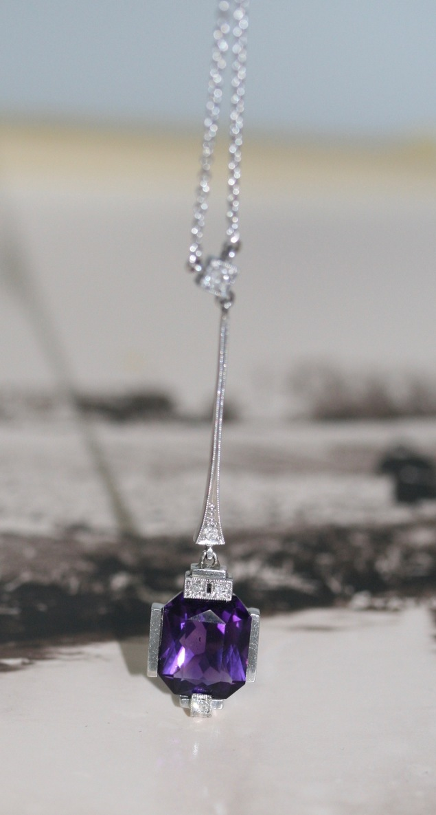 Art Deco Amethyst And Diamond Necklace, Circa 1930's