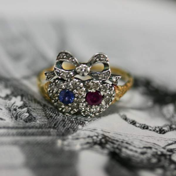 A Victorian 'entwined Hearts' Diamonds, Sapphire And Ruby Ring