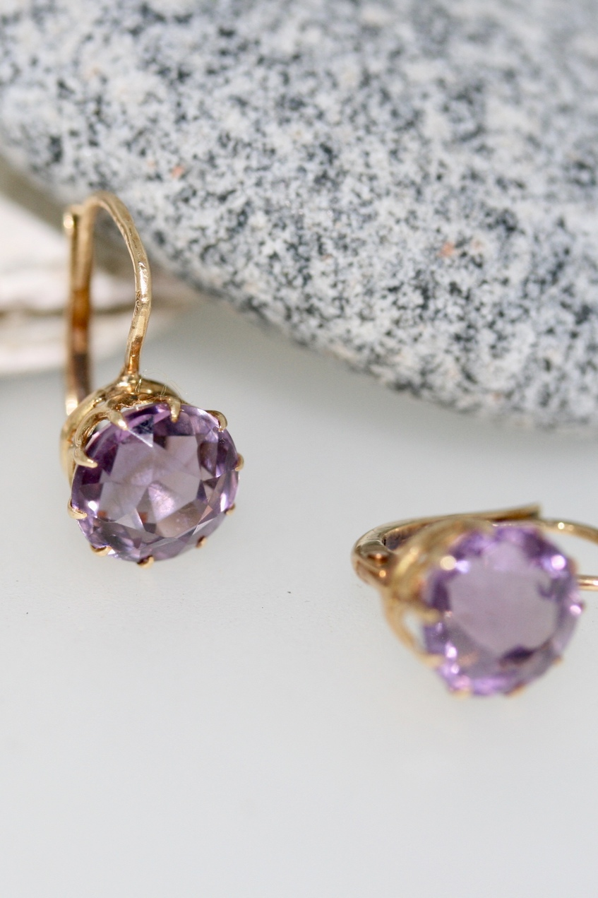 Pair Of Edwardian Amethyst And Gold Earrings