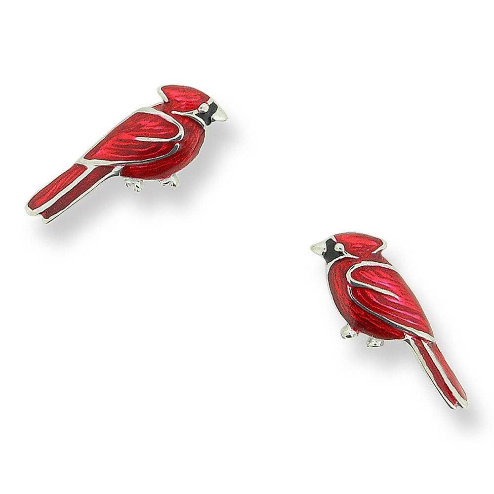 NB cardinal bird studs